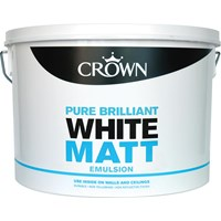 Crown  Matt Brilliant White Paint - 10 Litre