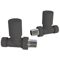Pair Straight Anthracite Radiator Valves