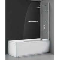 Flair  Double Panel Sail Bath Screen with Shelves