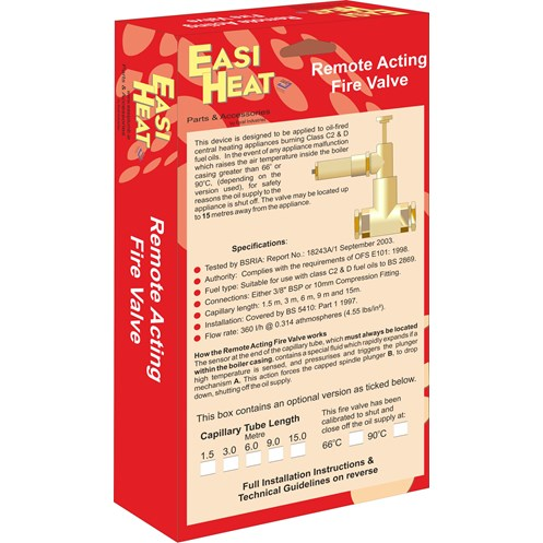 Easi Heat  90°C Remote acting Fire Valve